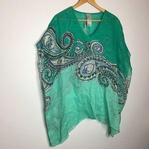 Chico's Paisey Swirl Linen Poncho Green Linen